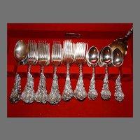 42 Pc Gorham Sterling Silver 1888 Versailles Flatware Antique
