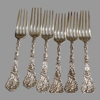 Antique Sterling Silver  6 Dinner Place Forks Old Versailles Gorham