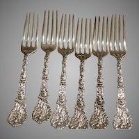 Antique Sterling Silver  6 Dinner Place Forks Old Versailles Gorham