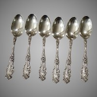 6 Sterling Silver Teaspoons Irian by Wallace 1902