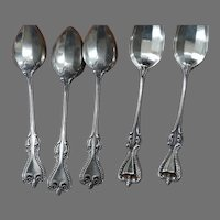 Sterling Silver Old Colonial Towle Sterling Silver 5 Teaspoons 1895 Pat.