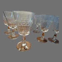 Set 9 Antique Flint Glass Stemware w/ Early Wine Charms