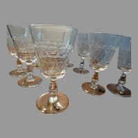 Set 9 Antique Flint Glass Stemware w/ Early Wine Charms