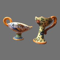 2 Majolica Pottery Polychrome Candleholders Vintage