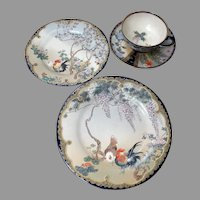 Kozan Satsuma Rare 4Pc Dinnerware Se Fine Porcelain China Historic William Jennings Bryan