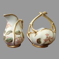 Royal Worcester Biscuit Porcelain Melon Sugar Creamer Set