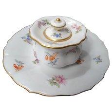19th Century Meissen Vanity Jar w/ Under Plate Floral