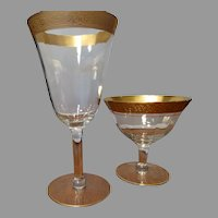 23 Gold Encrusted Tapestry Crystal Stemware Optic Goblets Wines