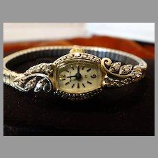 Art Deco Ladies Diamond Wrist Watch Hamilton 10K Gold
