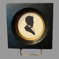 Antique Small Abraham Lincoln Silhouette on Glass Framed
