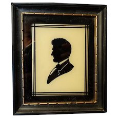 Abraham Lincoln Eglomise Reverse Painted on Glass Framed Silhouette Antique