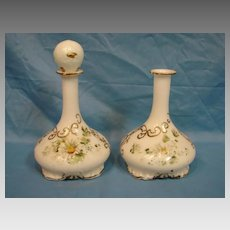 19th Century Mt Washington Milk Glass Barber Bottle Pair Hand Painted
