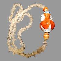 Chinese Pottery Vase Pendant Chunky Quartz Beads