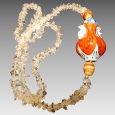 Chinese: Quartz :Gourd Urn: Pendant :Quartz Beads: Retro: Necklace