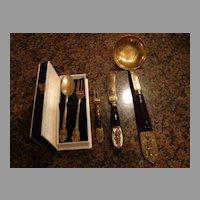 Old Thai Thailand Bronze Flatware Utensils 5 Pieces