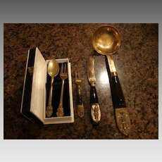 Old Thai & Bronze Flatware 5 Pieces Large Ladle 2 pc Boxed Pakistan  5th Century Utensils.