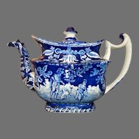 C1790-1810 Staffordshire Pottery Transferware  Pearlware Teapot