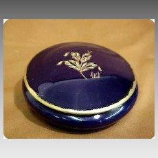 Limoges France Vanity Jar Cobalt Porcelain Signed