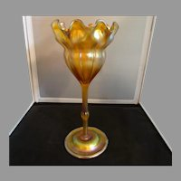 LC Tiffany Gold Favrile 6986E Floriform Vase C1900