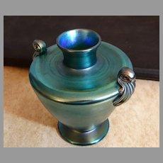 LC Tiffany Blue Favrile Urn Vase Scroll Handles 295H