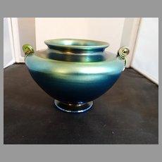 LC Tiffany Blue Favrile Bowl Vase Scroll Handles 4422K