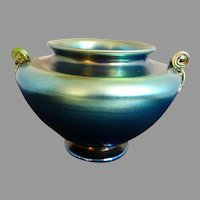 LC Tiffany Blue Favrile Bowl Vase Scroll Handles 4422K