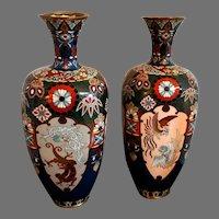 Pair Meiji Japanese Cloisonné Vases Dragon and Phoenix