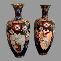 Pair Meiji Japanese Cloisonné Vases Dragon and Phoenix