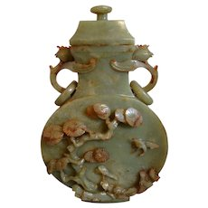 Carved Jade Vase and Cover Chinese Republic Period