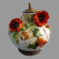 Art Nouveau Faience French Barbotine Monumental Vase Lamp Poppy Motif