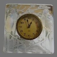 "Rene R Lalique Opalescent Birds Desk Clock ""Inseparables"""