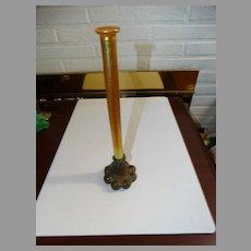 Tiffany Studios Candlestick Vase Bronze Base Signed Gold Favrile
