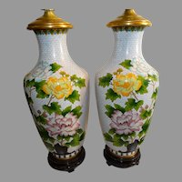 1920-1930s Large Cloisonne' Table  Lamps Chinese Superb