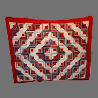 """Log Cabin Antique Quilt Circa 1900 Unwashed """"Trunk"""" Quality"""