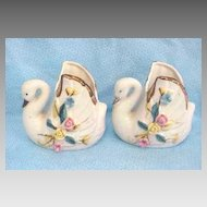 2 Porcelain China Swan Vase Set 1930s