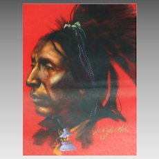 "Don Prechtel Native American Warrior ""Two Hatchets"" Original Painting"