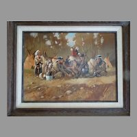 """The Guardians"" Native American Western Art Original Oil Painting on Canvas Don Prechtel"