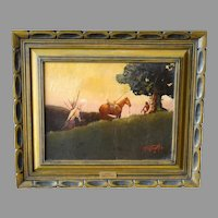 """The Sentinel"" Don Prechtel Original Oil Painting Native American Western Art"