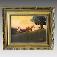 """The Sentinel"" Don Prechtel Original Oil Painting Native American Western Art"