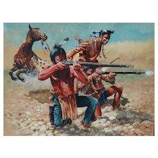 """Taking Aim"" Original Large Oil Painting Don Pretchel Native American Western Art"