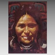 Kwakiutl Flathead Montana Native American Maiden Portrait Don Prechtel Original Oil Painting on Canvas Western Art 1970s