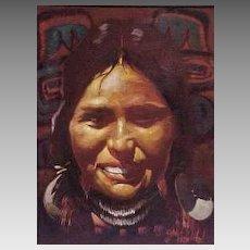 Kwakiutl Flathead Montana Native American Maiden Portrait Don Prechtel Original Oil Painting on Canvas Western Art 1970s