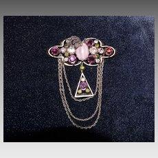 Heirloom Austrian Crystal Rhinestone Chatelaine Drape Brooch