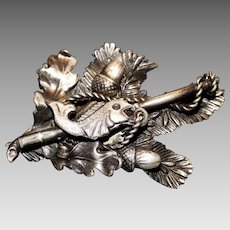 Antique Nautical Fish Pin Brooch Oak Leaves Nuts Relief Unmarked