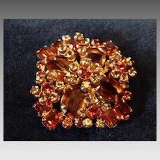 Large Layered Austrian Crystal Rhinestone Brooch Pin