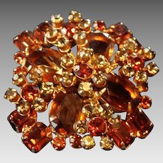 Large Layered Austrian Crystal Rhinestone Brooch Pin