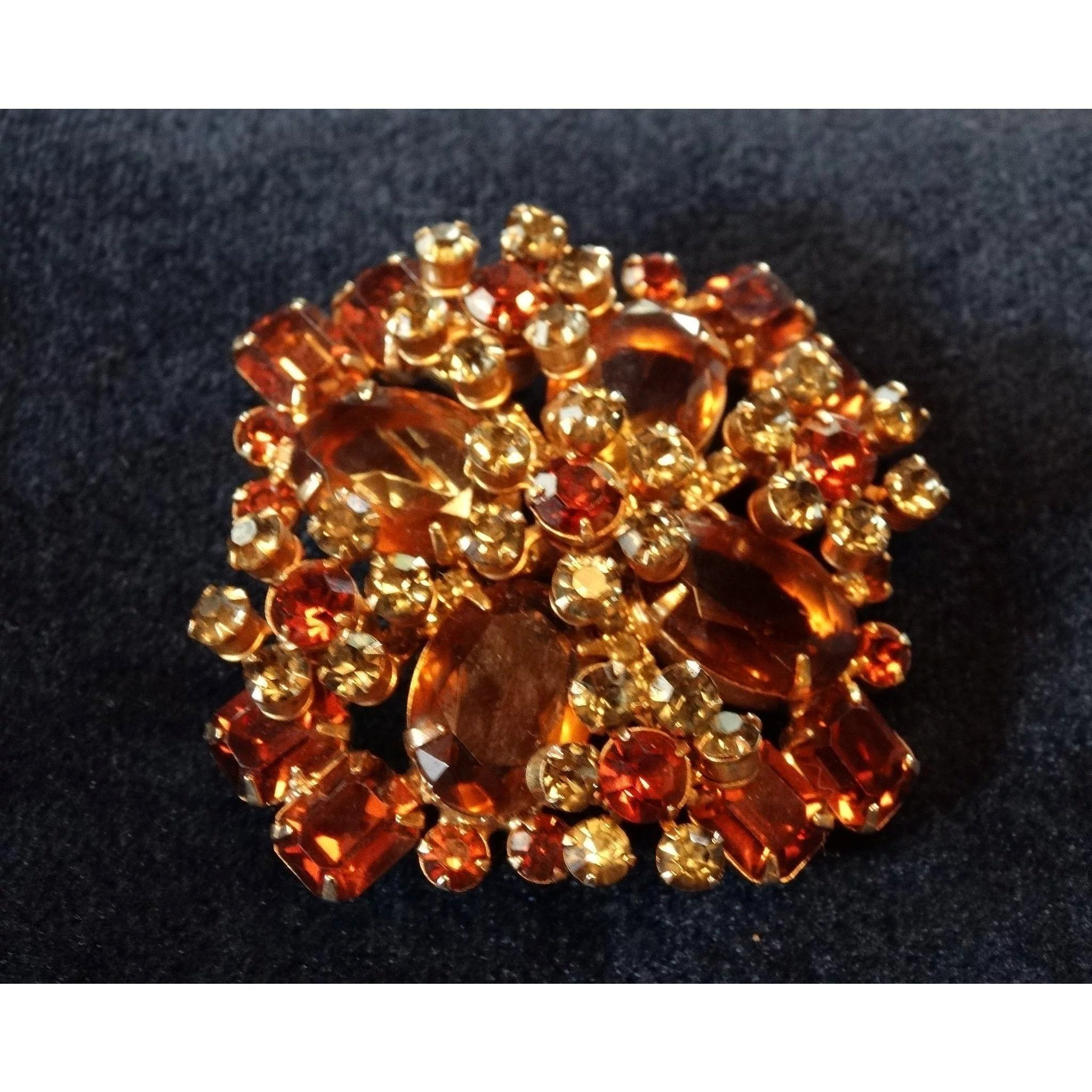 Details about  /Orange Red Austrian Crystals Double Leaf Brooches Pins Clear Rhinestone
