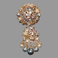 Austrian Crystal Brooch Unmarked Designer Swag Pendant Brooch Pin