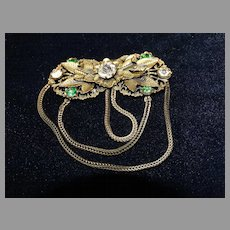 Antique Paste Rhinestone Coat Cape Closure Clasp Brooch
