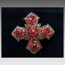 Heirloom Maltese Cross Brooch Cranberry Red Austrian Crystal Brooch Pin Christmas Candy Mount